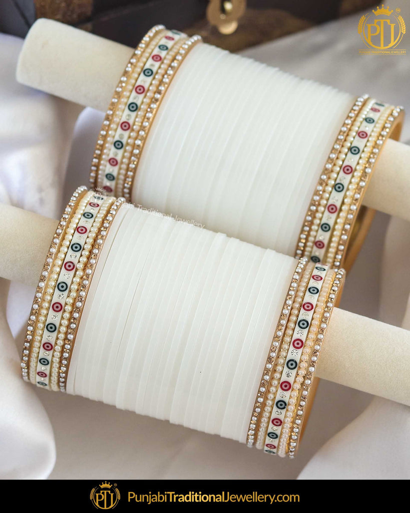 Dotted White Pearl Bridal Chura | Punjabi Traditional Jewellery Exclusive
