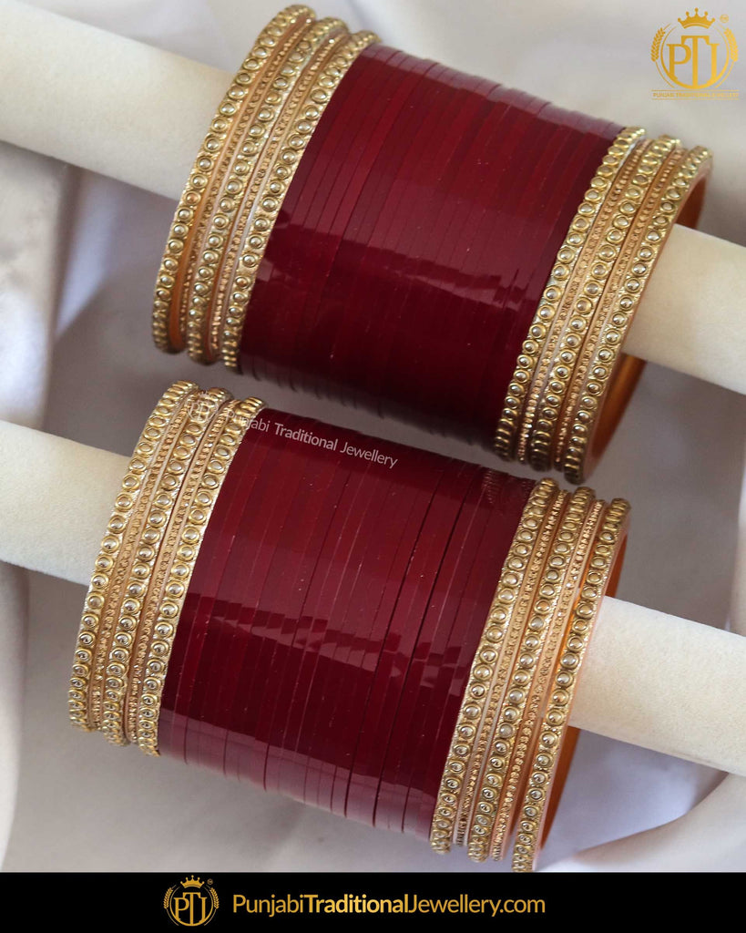 Maroon Pearl Bridal Chura | Punjabi Traditional Jewellery Exclusive