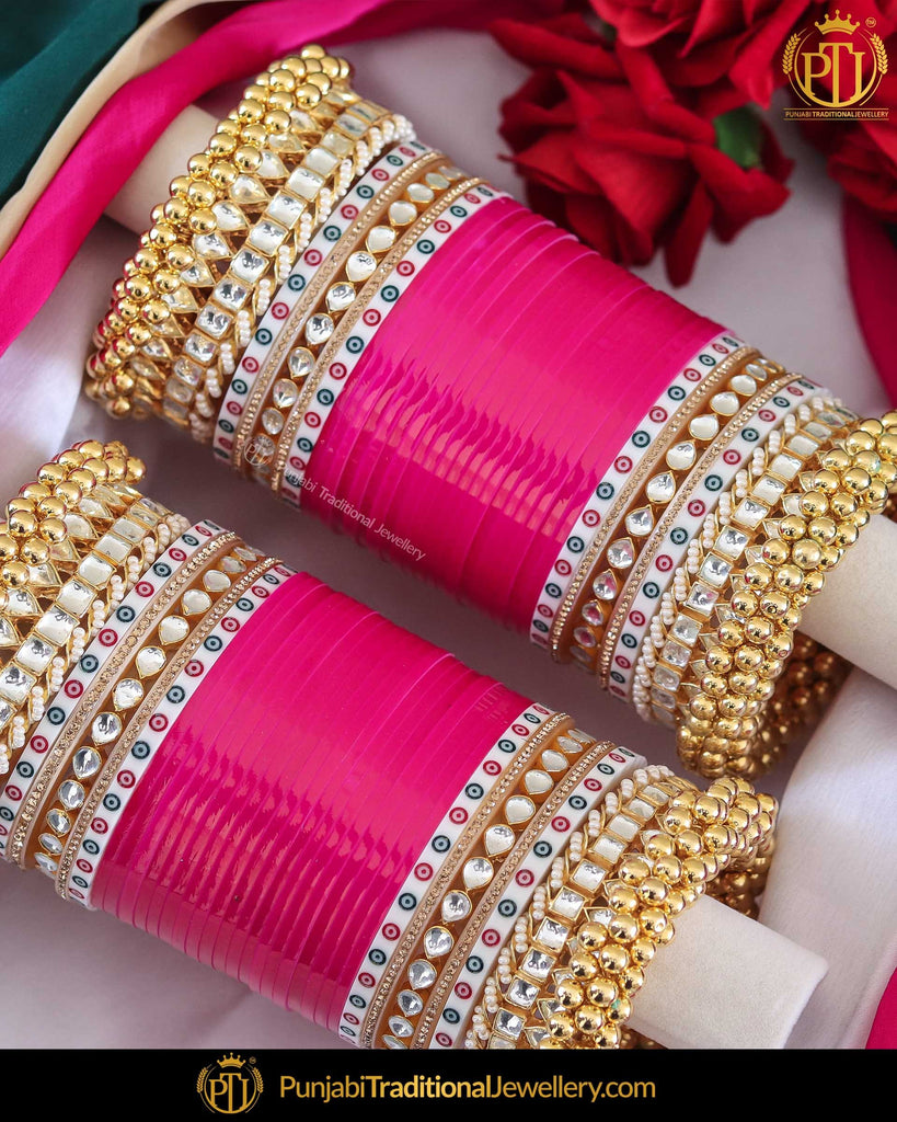 Dotted Kundan Hot Pink Gold Ghungroo Bridal Chura | Punjabi Traditional Jewellery Exclusive