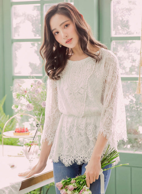 YOCO - Floral Laced Long Sleeve Blouse