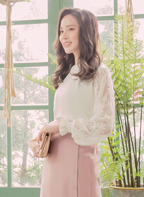 YOCO - Textured Floral Sleeves Blouse
