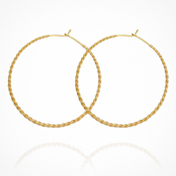 Temple of the Sun - Carmella Twisted Hoop Gold Crossbrushed