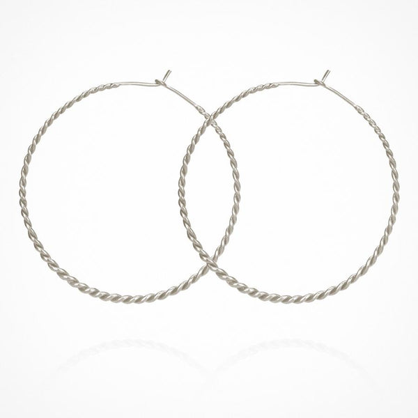 Temple of the Sun - Carmella Twisted Hoop Silver