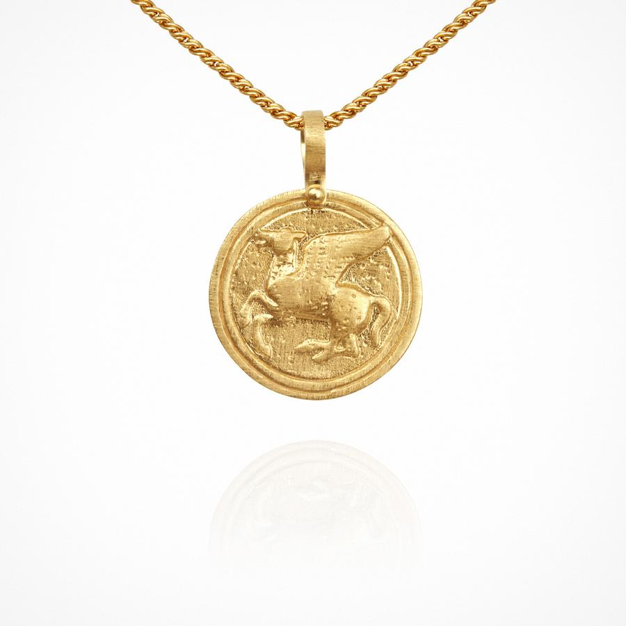 Temple of the Sun - Pegasus Coin Necklace Gold