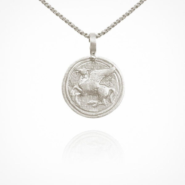 Temple of the Sun - Pegasus Coin Necklace Silver