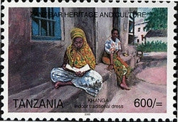 Zanzibar Heritage and Culture - Khanga - typical indoor dress - Philately Tanzania stamps