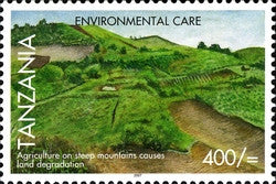 Environmental Care - Agriculture on steep mountains - Philately Tanzania stamps