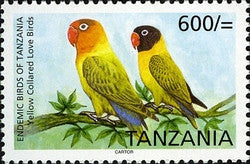 Endemic Birds of Tanzania - Yellow Collared Love Birds - Philately Tanzania stamps
