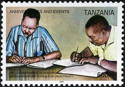 Anniversaries & Events - The late Presidents J.K. Nyere and Abeid Aman Karume signing for Union treaty - Philately Tanzania stamps
