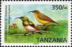 Endemic Birds of Tanzania - Rufous-Winged Sunbird - Philately Tanzania stamps