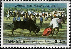 Zanzibar Heritage and Culture - Bull fighting game - Pemba - Philately Tanzania stamps