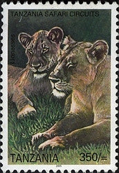 Tanzania Safari Circuits - Lions - Philately Tanzania stamps