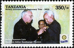 100th Anniversary of Rotary International - Rotary honours the late Mwalimu Julius K Nyerere - Philately Tanzania stamps