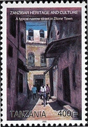 Zanzibar Heritage and Culture - A typical narrow street in Stone Town - Philately Tanzania stamps