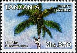 Beauty of Zanzibar - Climbing a Coconut Tree - Philately Tanzania stamps