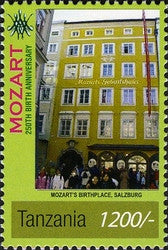 Wolfgang Amadeus Mozart (1756-1791) - Mozart's birthplace - Philately Tanzania stamps