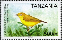 Endemic Birds of Tanzania - Pemba White-eye - Philately Tanzania stamps