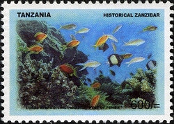 Historical Zanzibar - Coral Reefs Diving Paradise west of Pemba - Philately Tanzania stamps