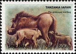 Tanzania Safari - Grotesque Warthog - Philately Tanzania stamps