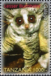 Species of Zanzibar - Preserve - Lesser Bush Baby - Philately Tanzania stamps