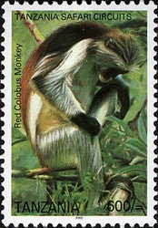 Tanzania Safari Circuits - Red Colobus Monkey - Philately Tanzania stamps