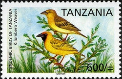 Endemic Birds of Tanzania - Kilombero Weaver - Philately Tanzania stamps