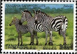 Tanzania Safari Circuits - Zebras - Philately Tanzania stamps