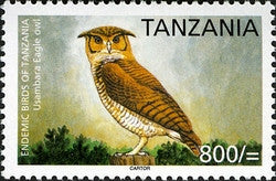 Endemic Birds of Tanzania - Usambara Eagle Owl - Philately Tanzania stamps