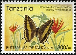 Butterflies of Tanzania - Charaxes lucyae gabriellae - Philately Tanzania stamps