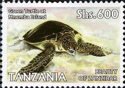 Beauty of Zanzibar - Green Turtle at Mnemba Island - Philately Tanzania stamps