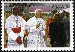 Anniversaries & Events - In Memoriam Pope John Paul II arrival in Tanzania in 1990 - Philately Tanzania stamps