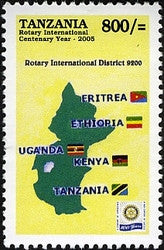 100th Anniversary of Rotary International - Rotary Districts - Philately Tanzania stamps