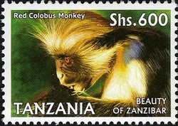 Beauty of Zanzibar - Red Colobus Monkey - Philately Tanzania stamps