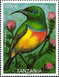 Endemic Birds of Tanzania - Moreau's Sunbird - Philately Tanzania stamps