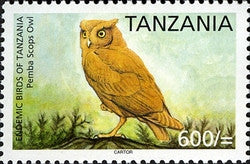 Endemic Birds of Tanzania - Pemba Scops Owl - Philately Tanzania stamps