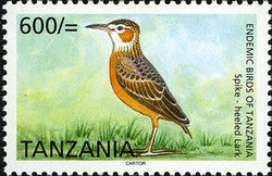 Endemic Birds of Tanzania - Spike-heeled Lark - Philately Tanzania stamps