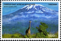 Famous East African Mountains - Mount Kilimanjaro, Kibo Summit and Mawenzi - Philately Tanzania stamps