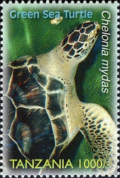 Species of Zanzibar - Preserve - Green Sea Turtle - Philately Tanzania stamps