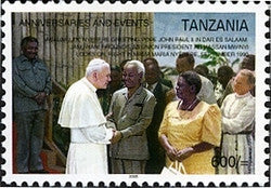 Anniversaries & Events - Mwalimu J.K. Nyerere greeting Pope John Paul II in Dar es Salaam - Philately Tanzania stamps