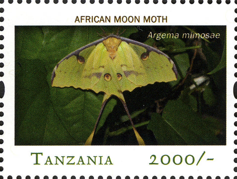African Moon Moth - Philately Tanzania stamps