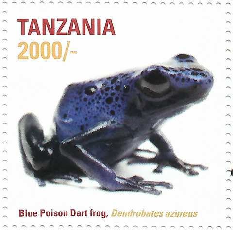 African Frogs- blue poison - Philately Tanzania stamps