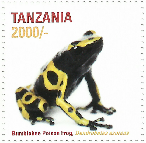 African Frogs- Bumblebee Poison - Philately Tanzania stamps