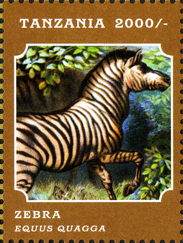 Fauna Mammals -Zebra - Philately Tanzania stamps