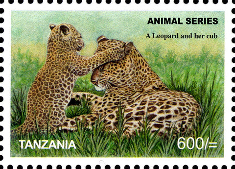 Leopard and her cub - Philately Tanzania stamps