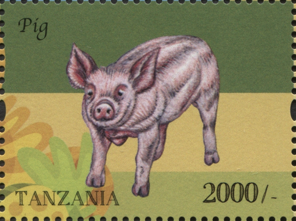 Farm Animals -Pig - Philately Tanzania stamps