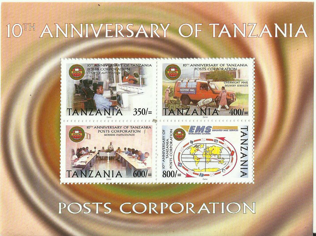 10th Anniversary of Tanzania Posts Corporation 1994-2004 - Sheetlet - Philately Tanzania stamps