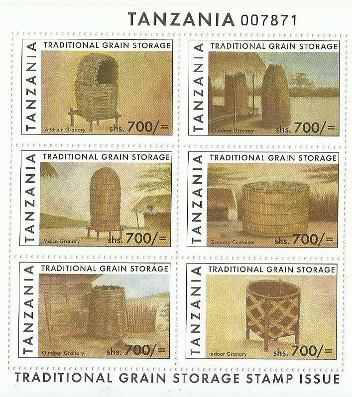 Traditional Grain Storage - Sheetlet - Philately Tanzania stamps