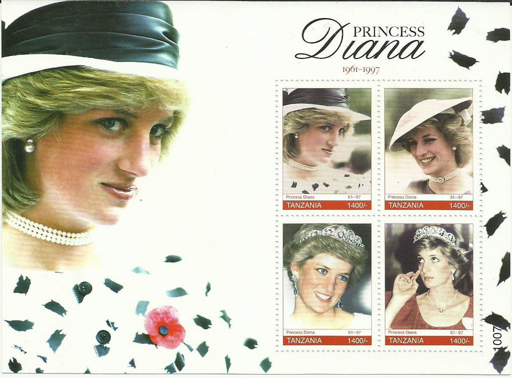 Princess Diana Memoriam - Sheetlet - Philately Tanzania stamps