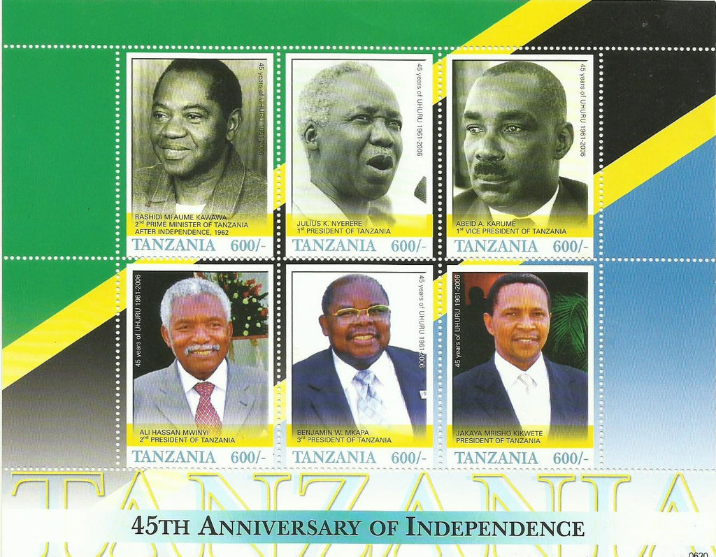 45th Anniversary of Tanzania Independence (1961-2006) - Sheetlet - Philately Tanzania stamps