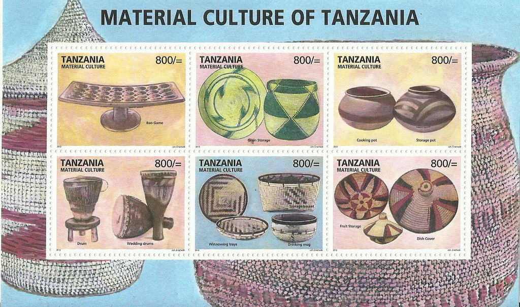 Tanzania Material Culture - Sheetlet - Philately Tanzania stamps